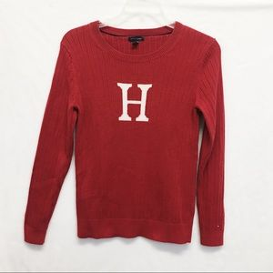 TOMMY HILFIGER  RED COTTON SWEATER  SIZE LARGE